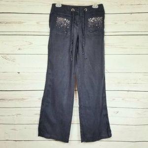 INC linen rhinestone wide leg pocket pants size 2